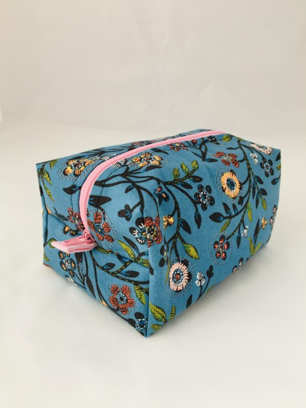 Blue Floral Zippered Bag