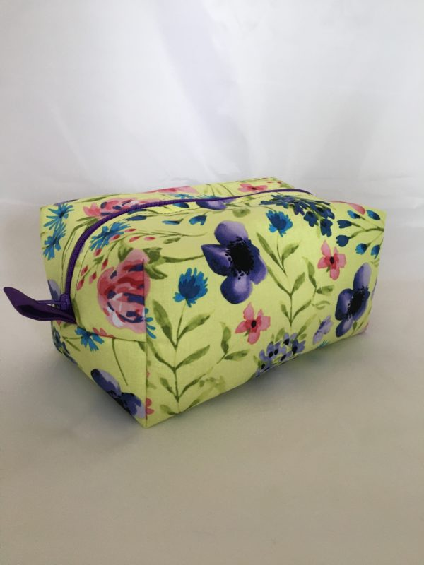 Floral Yellow Zippered Bag